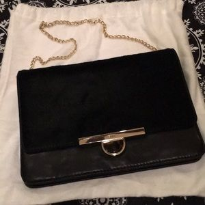DNKY buttery black leather faux fur purse